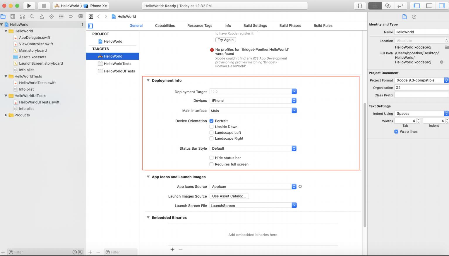 Deployment info in Xcode