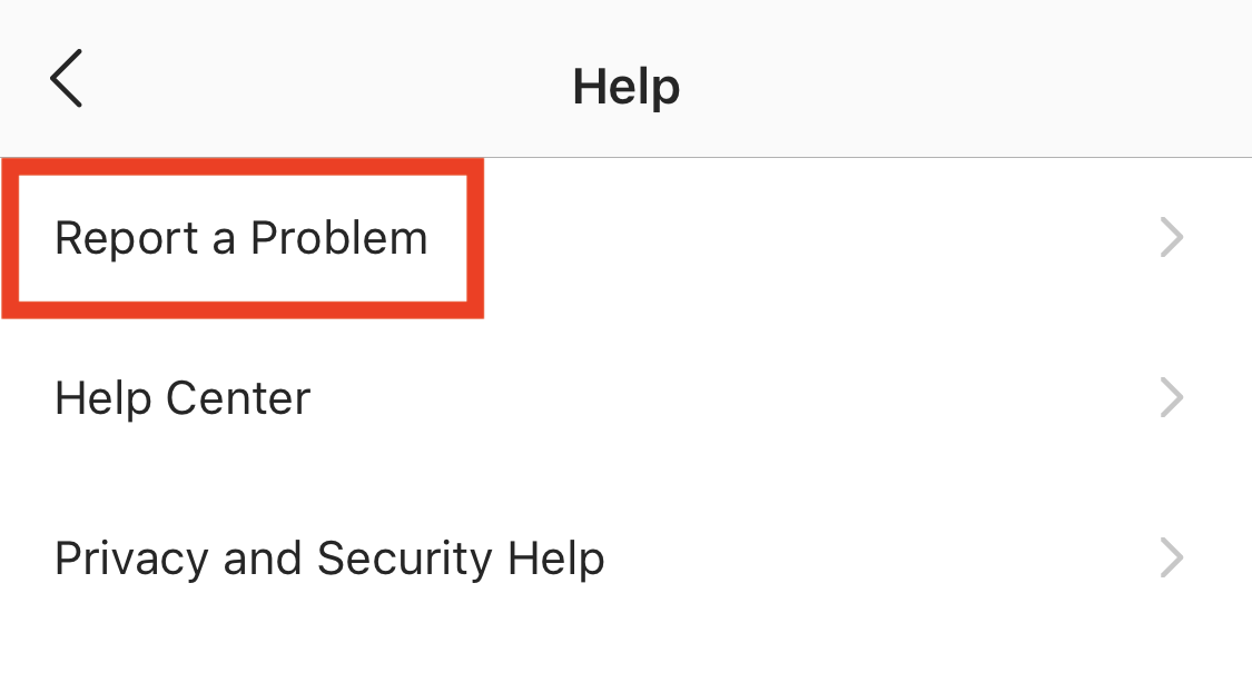 instagram report a problem