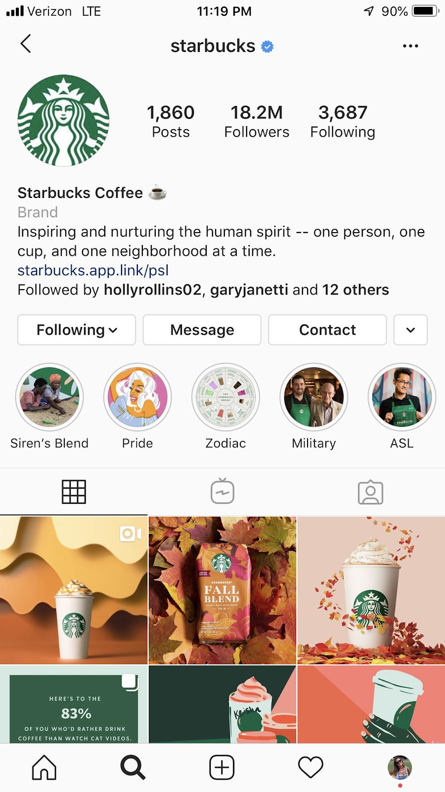 starbucks instagram profile